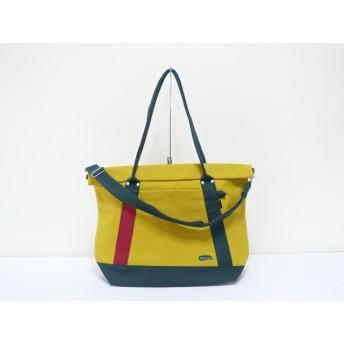 (大)8号帆布蓋巻きショルダートートバック イチョウ×濃グリーン・赤ワイン 大きめバッグ