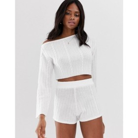 エイソス ASOS DESIGN レディース オフショルダー トップス lounge knitted cable off shoulder jumper Cream