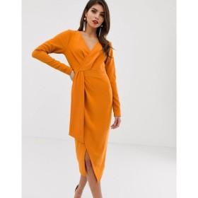 エイソス ASOS DESIGN レディース ワンピース ワンピース・ドレス long sleeve wrap midi dress with belt detail Orange