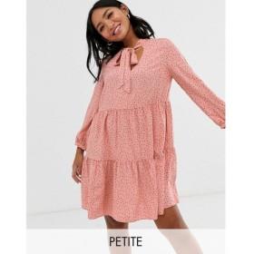 ニュールック New Look Petite レディース ワンピース ワンピース・ドレス pussy bow smock dress in pink polka dot Pink