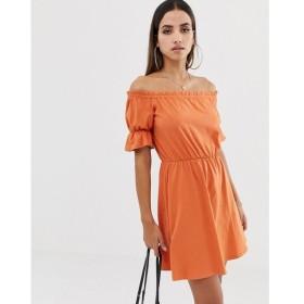 エイソス ASOS DESIGN レディース ワンピース ワンピース・ドレス off shoulder mini sundress with puff sleeve Rust