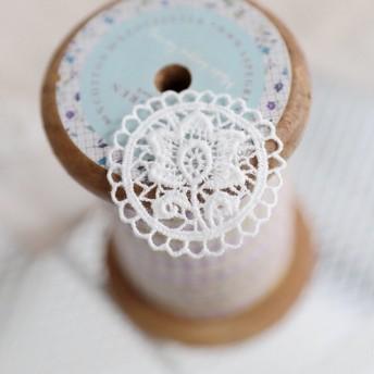 2枚セット お花 綿レースアップリケ モチーフ 白 BK190835 ハンドメイド 手芸 素材 材料 DIY