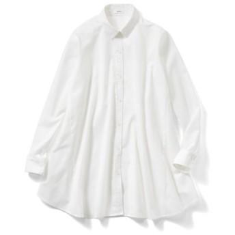 たっぷりフレアーが印象的なAラインシャツチュニック〈オフホワイト〉 IEDIT[イディット] フェリシモ FELISSIMO【送料無料】