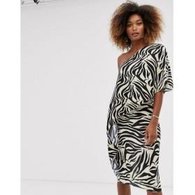 エイソス ASOS DESIGN レディース ワンピース ワンピース・ドレス one shoulder plisse midi dress in animal print Multi
