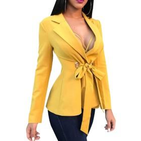 ロングスリーブラペル軽量スーツの女性ブレザーファッションイエローレース Yellow XL