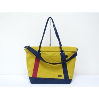 (大)8号帆布蓋巻きショルダートートバック イチョウ×紺・赤ワイン 大きめバッグ