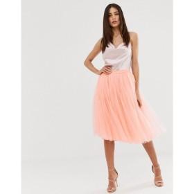 リトル ミストレス Little Mistress レディース ひざ丈スカート スカート tulle midi prom skirt in coral Coral