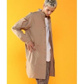 【10%OFF】 コーエン バンドカラースーパーロングシャツ(UTILITY LINE) メンズ BEIGE SMALL 【coen】 【タイムセール開催中】