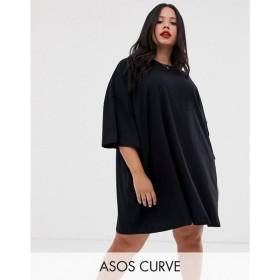 エイソス ASOS Curve レディース ワンピース ワンピース・ドレス ASOS DESIGN Curve oversized t-shirt dress Black