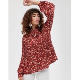 セレクテッド オム Selected レディース トップス Femme pleated top in ditsy floral Chili oil aop