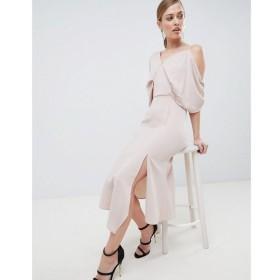 ラヴィッシュアリス Lavish Alice レディース ワンピース ワンピース・ドレス Asymmetric Cold Shoulder Floaty Midaxi Dress Nude