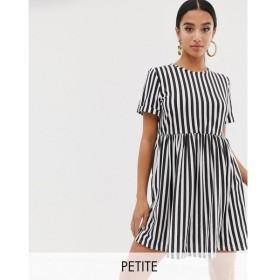 ブーフー Boohoo Petite レディース ワンピース ワンピース・ドレス exclusive smock dress in mono stripe Multi