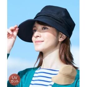 帽子 大きいサイズ レディース UVメッシュ切替キャスケット 選べる2サイズ  ベージュ/黒 1 ニッセン