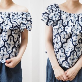 【数量限定】2wayオフショルブラウス涼しげな柄の着物リメイク品
