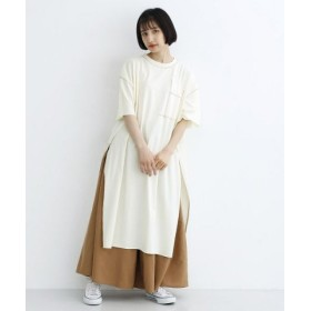 (merlot/メルロー)ステッチ配色Tシャツワンピ/レディース アイボリー
