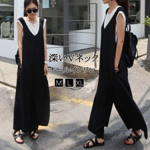 【韓国ファッションVネックサロペットパンツ/レディース/オールインワン/オーバーオール/ワイドパンツ/ガウチョパンツ/パンツ/パ