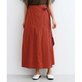 (merlot/メルロー)コットンタックプリーツラップスカート/レディース オレンジ