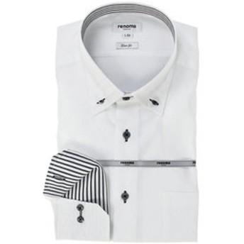 【TAKA-Q:トップス】イージーケア スリムフィット 3枚衿ボタンダウン長袖ビジネスドレスシャツ/ワイシャツ