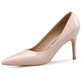[VALER] エナメル 小さいサイズ パンプス ポインテッドトゥ レディース あんずいろ 美脚 ハイヒール 結婚式 ピンヒール 歩きやすい 痛くない 滑りにくい 黒 靴擦れ防止 21.0cm 柔らか 成人式 パーティー 10cm 夏 秋 おしゃれ 靴 ヒール8cm