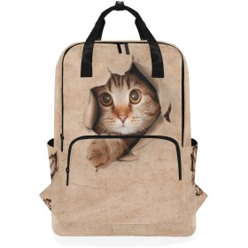 マキク(MAKIKU) リュック おしゃれ 軽量 かわいい 猫柄 おもしろ 茶色 大容量 小学生から大学生まで 子供 大人 旅行 プレゼント