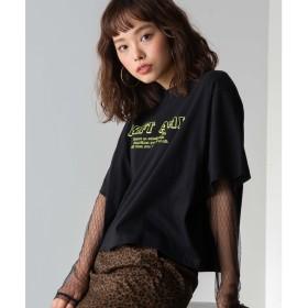 WEGO WEGO/シースルーセットロゴTシャツ(ブラック)【返品不可商品】