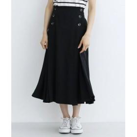 (merlot/メルロー)前ボタンファイユプリーツスカート/レディース ブラック