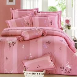 eyah宜雅 全程台灣製100%精梳純棉雙人特大床罩兩用被全舖棉五件組-小粉花