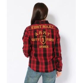 アヴィレックス コットン ネル チェックシャツFORT RILEY/NEL CHECK SHIRT レディース RED S 【AVIREX】