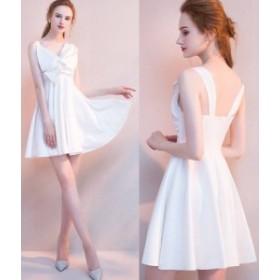 ミニドレス パーティードレス タイトスカート ミニ ドレス ワンピース 膝丈 袖なし リボン 大人可愛い お呼ばれドレス