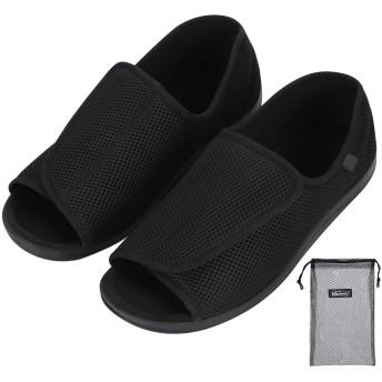 [QCHOMEE] メンズ 介護用シューズ 転倒予防シューズ 老人靴 サンダル 軽量 通気性 柔軟性 歩きやすい 糖尿病靴 リハビリ 外反母趾 甲高 腫れ足 快適ケアシューズ 安全靴 高齢者シューズ