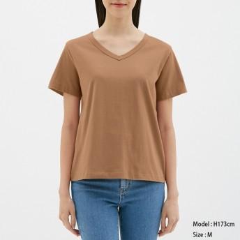 (GU)カラーVネックT(半袖) BROWN XL