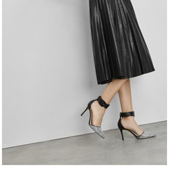 【CHARLES & KEITH:シューズ】パターンワイド アンクルラップヒール / Patterned Wide Ankle Wrap Heels
