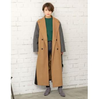 ロングコート - Re: EDIT クラス感を高める配色ロングコート マルチカラーダブルウールコート アウター/コート