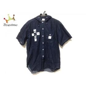 カールヘルム 半袖シャツ サイズM メンズ 美品 ダークネイビー×白 フード付き/デニム 新着 20190825