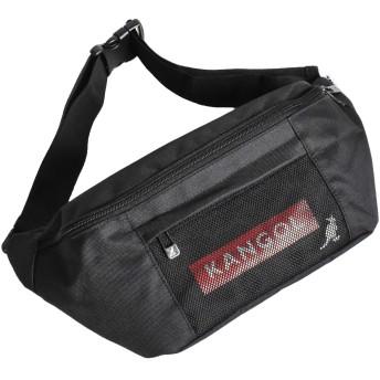[カンゴール] KANGOL ボックス ロゴ ウエストバッグ ボディバッグ ブラック×ブラック