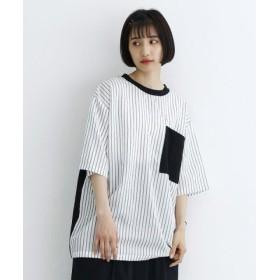 (merlot/メルロー)【TVドラマ着用】ストライプドッキングBIGポケットTシャツ/レディース ブラック