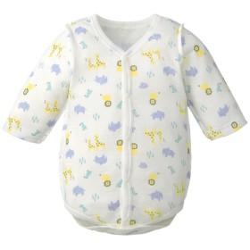 新生児 ロンパース あったか綿100% 前開き 長袖 ブルー インナー・パジャマ 新生児・乳児(50~80cm) インナーロンパース (109)
