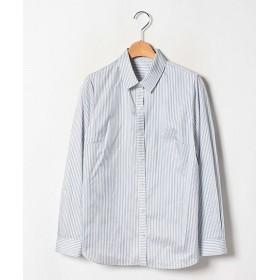 <レリアン/Leilian> シルク混ストライプシャツ アオ【三越・伊勢丹/公式】