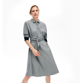 ハウンドトゥース柄プルオーバーシャツドレス