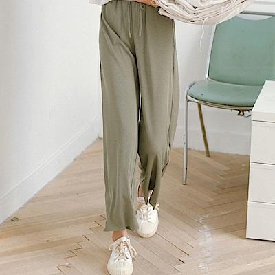 La Belleza素面腰鬆緊抽繩綁帶休閒寬管棉麻闊腿褲
