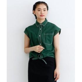 (merlot/メルロー)配色ステッチフレンチスリーブシャツ/レディース グリーン