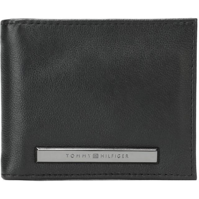 《期間限定セール開催中!》TOMMY HILFIGER メンズ 財布 ブラック 革 100%