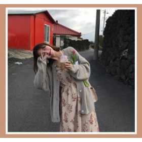 レトロ 花柄 ロングワンピース 花柄のワンピース シフォン パフスリーブ バルーンスリーブ ボリューム袖 長袖 レディース 韓国 オルチャ