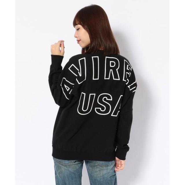 アヴィレックス WOMEN'S/ビッグ ロゴ スウェット シャツ 19/BIG LOGO SWEAT SHIRT レディース BLACK F 【AVIREX】