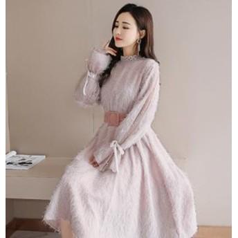 春新作 春服 レディース シャギーワンピース ひざ下丈 ピンク ベージュ 大人可愛い ウエストベルト スタイルアップ 袖コンシャス 個性的