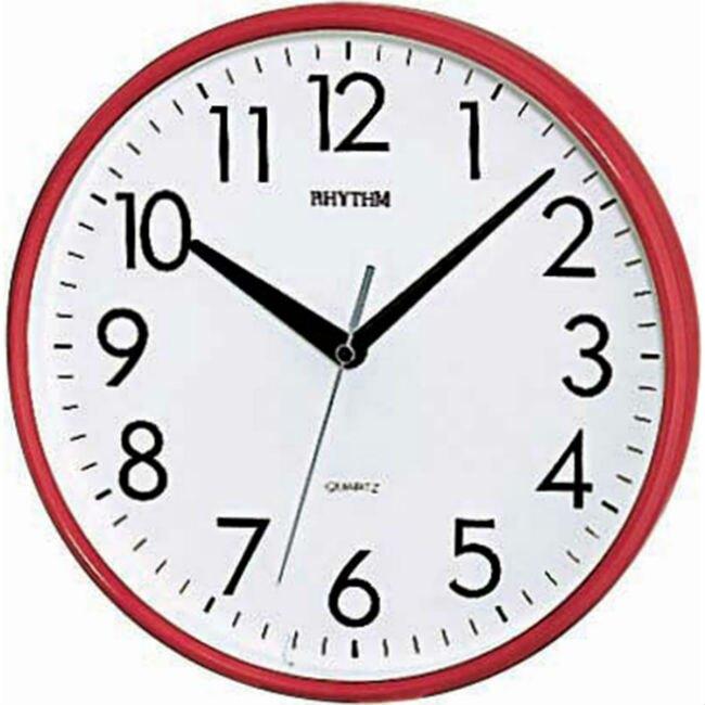 RHYTHM 麗聲鐘(CMG716) 立體數字圓形紅色時尚掛鐘/26cm