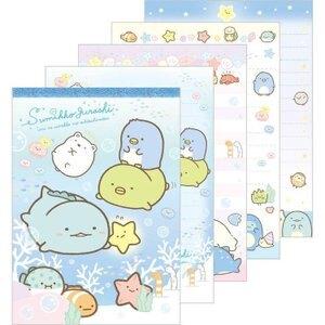 大賀屋 日本製 角落生物 便條紙 藍 信紙 書寫用品 文具 紙條 筆記 記事本 角落小夥伴 正版 J00016570