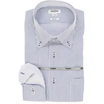 【TAKA-Q:トップス】イージーケア スリムフィット ボタンダウン長袖ビジネスドレスシャツ/ワイシャツ