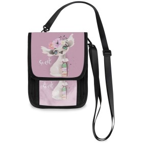 (VAWA) パスポートケース ポシェット かわいいバッグ 花柄 しか 動物 ピンク スマホポーチ おしゃれ 人気 ミニ財布 薄型 軽い 携帯斜めがけ 首下げ 2way ストラップ長さ調節可能 PVCクリアポケット付き 男女兼用
