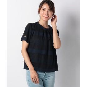 <レリアン/Leilian> シアーボーダーカットソー ネービーブルー 【三越・伊勢丹/公式】